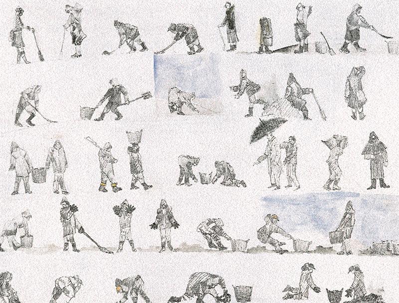 Bocetos de recolectoras, Leiro
