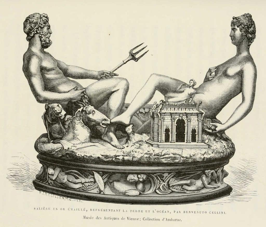 Grabado del salero del rey Francisco I de Francia, obra de Benvenuto Cellini