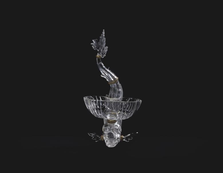 Salero de cristal de roca en forma de delfín, Giovanni Battista Metellino, 1700